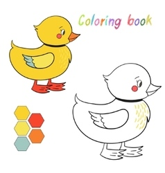 Coloring book duck kids layout for game vector image