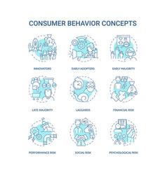 consumer behavior concept icons set vector image