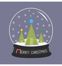Crystal ball with snowflakes merry christmas card vector