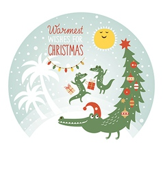 Cute african crocodiles greeting card vector