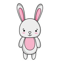 Cute and happy rabbit wild animal vector