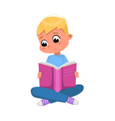 cute blond boy sitting on floor and reading book vector image