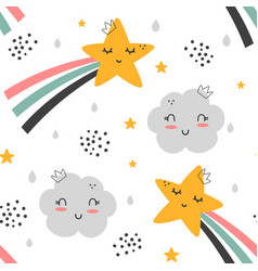 Cute rainbow and cloud pattern vector