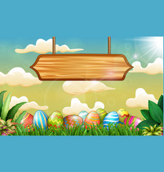 easter background with colorful eggs and blank sig vector image