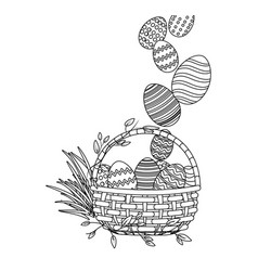 easter egg in wicker basket vector image