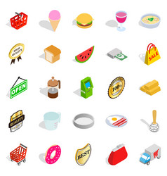 Eatery icons set isometric style vector