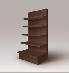 Empty exhibition trade stand rack with shelves vector