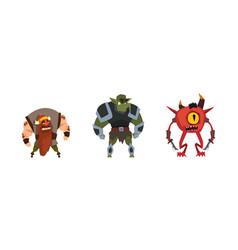 Fantastic magical creature characters set dwarf vector