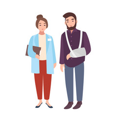 Female doctor or medical adviser and patient vector
