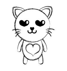 figure enamored cat cute feline animal vector image