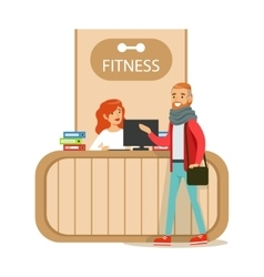 Fitness Club Reception Counter With Female vector