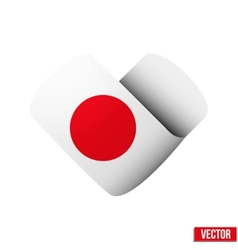 Flag icon in the form of heart I love Japan vector