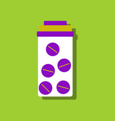 Flat icon design collection bank with pills in vector