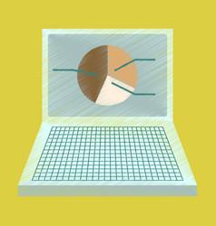 Flat shading style icon laptop chart vector