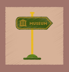 Flat shading style icon museum sign vector
