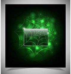 Glowing spider web on a dark background vector