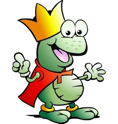 hand-drawn an happy prince frog vector image