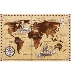 Hand Drawn Retro Map vector image