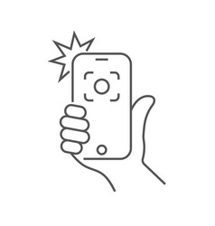 hand hold smartphone and photographed vector image