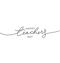 happy teacher s day hand drawn greeting card vector image