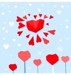 Heart sun postcard vector
