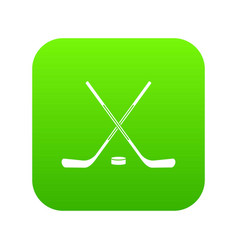 ice hockey sticks icon digital green vector image