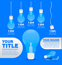 Infographics 5 steps and broken lamp vector