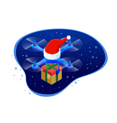 isometric dron santas hat delivering christmas vector image