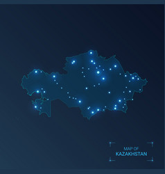 Kazakhstan map with cities luminous dots - neon vector