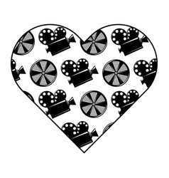 label heart with movie camera projector and reel vector image