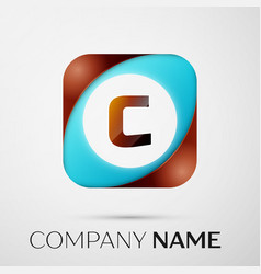 Letter c logo symbol in the colorful square on vector