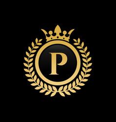 Letter p royal crown logo vector