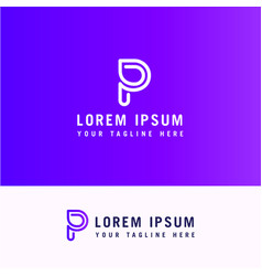 logo letter p line with minimalist style vector image