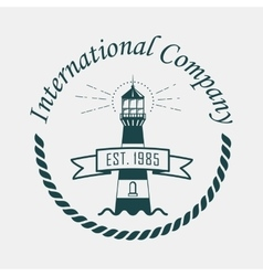 Logotype with lighthouse and rope or sling vector