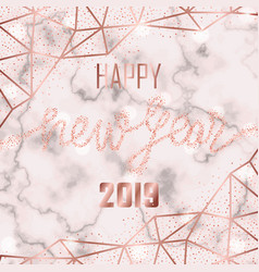 luxury pink gold glitter happy new year 2019 vector image