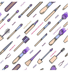 makeup seamless pattern composition - lips vector image