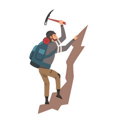 man climbing on rock mountain with equipment vector image