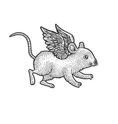 mouse flying with wings sketch vector image