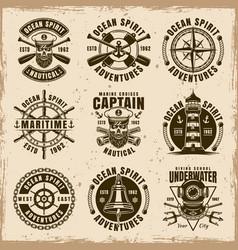 Nautical set of nine vintage emblems vector