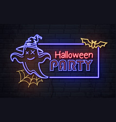 Neon sign halloween party with ghost vector