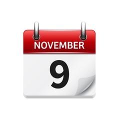 November 9 flat daily calendar icon Date vector