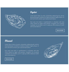 Oyster and mussel vintage vector