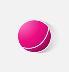 Paper clipped sticker children ball vector