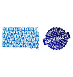 People composition of mosaic map of south dakota vector