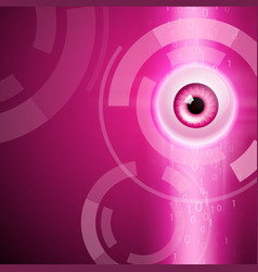 Pink background with eye and binary code vector