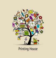 Printing house sketch for your design vector