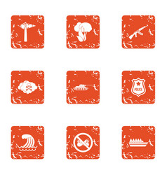 Rampage icons set grunge style vector