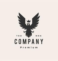 roaring bird king crown hipster vintage logo icon vector image