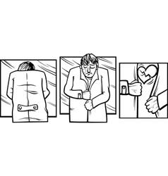 sad man with broken heart comics vector image