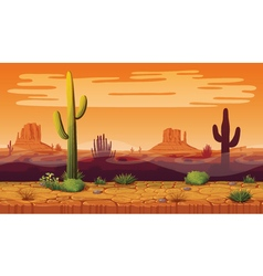 Seamless background of landscape with desert and vector